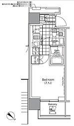 パークハビオ赤坂タワー 7階1Kの間取り