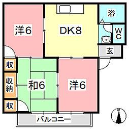 ガーデンビュー西中[108号室]の間取り
