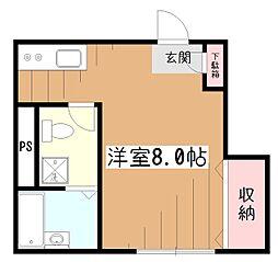 東京都東村山市野口町2の賃貸アパートの間取り