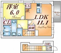 サニーガーデン 2階1LDKの間取り