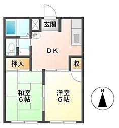 愛知県豊川市市田町中社の賃貸アパートの間取り