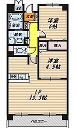 大阪府大阪市鶴見区浜2丁目の賃貸マンションの間取り