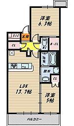 大阪府大阪市城東区鴫野西1丁目の賃貸マンションの間取り