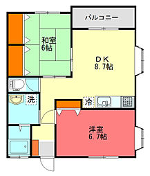 Kハイム壱番館[2階]の間取り