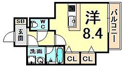 阪神本線 西宮駅 徒歩5分の賃貸マンション 2階ワンルームの間取り