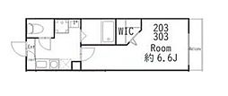 JR横須賀線 武蔵小杉駅 徒歩10分の賃貸アパート 3階1Kの間取り