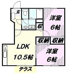 埼玉県狭山市笹井2丁目の賃貸アパートの間取り