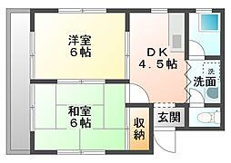 愛知県豊橋市橋良町字東郷の賃貸アパートの間取り