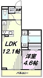 JR中央線 国立駅 徒歩15分の賃貸アパート 2階1LDKの間取り