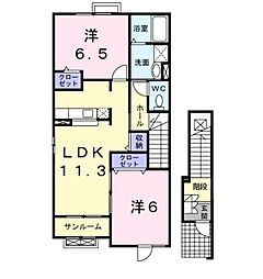 フリーデ石井 II[2階]の間取り