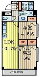 YM三鷹 2階2LDKの間取り