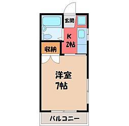 栃木県宇都宮市東峰町の賃貸アパートの間取り