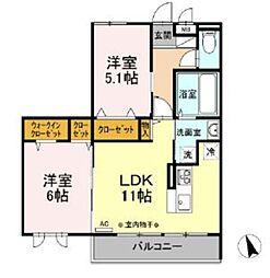 京王相模原線 南大沢駅 徒歩17分の賃貸アパート 3階2LDKの間取り