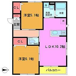 千葉県市川市下新宿の賃貸アパートの間取り