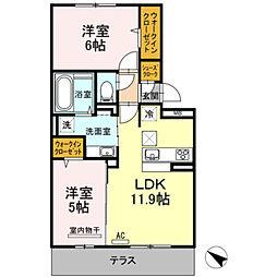 D-roomパークサイド吉塚[302号室]の間取り