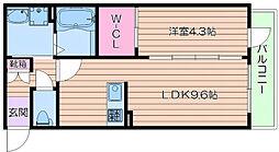 阪急千里線 吹田駅 徒歩7分の賃貸マンション 3階1LDKの間取り