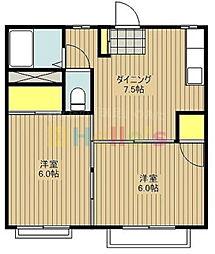 東京都昭島市武蔵野3の賃貸アパートの間取り