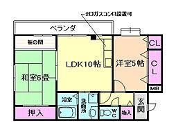 パークサイド吉野[4階]の間取り
