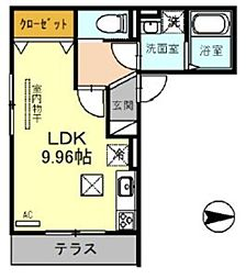 JR埼京線 戸田駅 徒歩12分の賃貸アパート 3階ワンルームの間取り