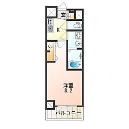 アドバンス大阪フェリシア 2階1Kの間取り