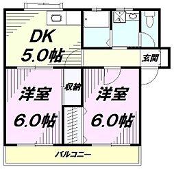 東京都八王子市中野山王2丁目の賃貸マンションの間取り