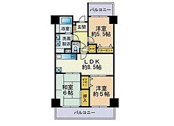 ロワールマンション和白5 6階3LDKの間取り