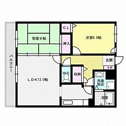 福岡県福岡市早良区室見3丁目の賃貸マンションの間取り