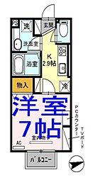 栃木県小山市若木町3の賃貸アパートの間取り