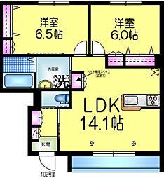 東武野田線 増尾駅 徒歩33分の賃貸マンション 1階2LDKの間取り