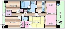 大阪府吹田市竹見台4丁目の賃貸マンションの間取り