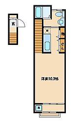 西武新宿線 小平駅 徒歩8分の賃貸アパート 2階1Kの間取り