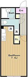 京王相模原線 京王永山駅 徒歩8分の賃貸マンション 3階ワンルームの間取り