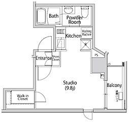 カーサスプレンディッド南麻布 2階ワンルームの間取り