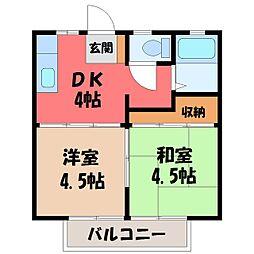 栃木県塩谷郡高根沢町宝石台2丁目の賃貸アパートの間取り
