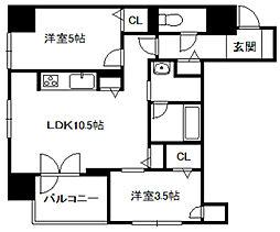北海道札幌市中央区南三条西5丁目の賃貸マンションの間取り