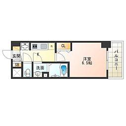 阪神なんば線 九条駅 徒歩5分の賃貸マンション 7階1Kの間取り