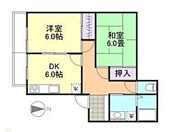 岡山県倉敷市玉島柏島の賃貸アパートの間取り