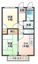 愛知県岡崎市土井町字西番城の賃貸アパートの間取り