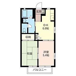 DIAS KUNITACHI 2階2DKの間取り