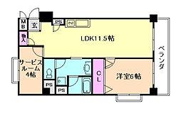 ドミール堂島[2階]の間取り