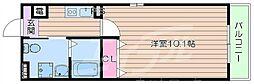 阪急京都本線 正雀駅 徒歩5分の賃貸マンション 2階1Kの間取り