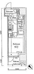 JR山手線 大崎駅 徒歩7分の賃貸マンション 6階1Kの間取り