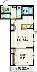 ヴィオリラI 2階1LDKの間取り