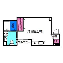 オリエントシティK 4階ワンルームの間取り