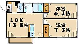 横浜市営地下鉄グリーンライン 北山田駅 徒歩17分の賃貸マンション 2階2LDKの間取り