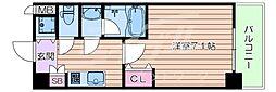 おおさか東線 城北公園通駅 徒歩7分の賃貸マンション 2階1Kの間取り