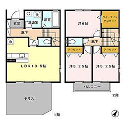 [テラスハウス] 神奈川県横浜市緑区いぶき野 の賃貸【/】の間取り