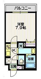東急大井町線 戸越公園駅 徒歩8分の賃貸マンション 3階1Kの間取り