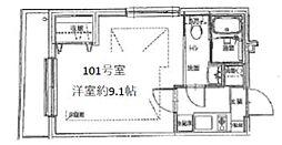 ピアコートTM武蔵関壱番館 1階1Kの間取り