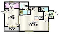 メゾン ド サカエ 1階1LDKの間取り